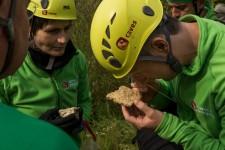 Gli Astronauti dell'ESA, Samantha Cristoforetti e Matthias Maurer, osservano un campione di roccia durante un training geologico nel cratere da impatto di Nördlingen (Germania) organizzato per il programma di addestramento PANGEA (credits: ESA–R. Shone)