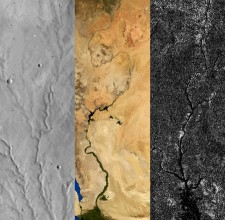 Esempio di network fluviali su Marte (sinistra), Terra (centro) e Titano (destra)  Credit: Benjamin Black, adapted from images from NASA Viking, NASA/Visible Earth, and NASA/JPL/Cassini RADAR team.